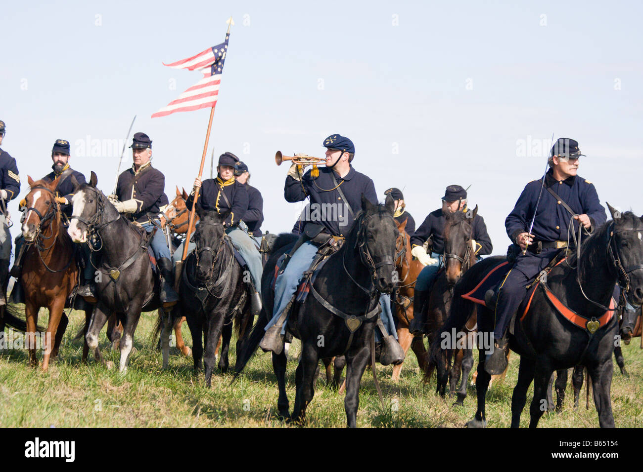 Civil War Battle Renactors at the renactment of the Battle of Berryville. - Stock Image