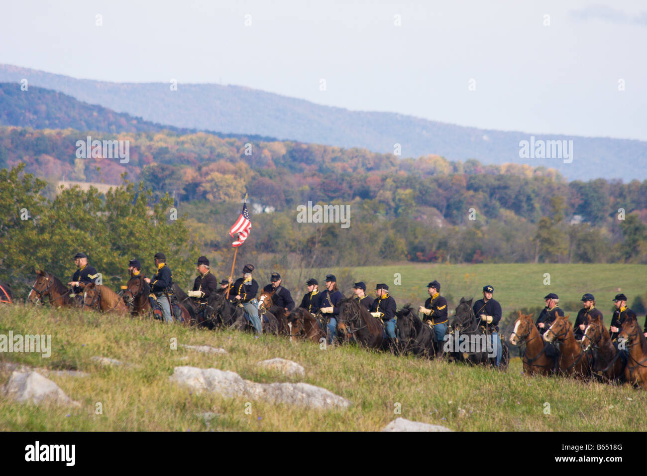 Civil War Battle Reenactors at the renactment of the Battle of Berryville. - Stock Image