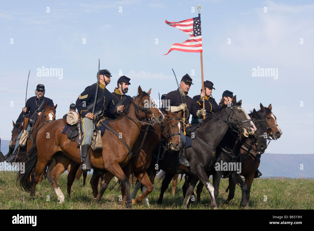 Federal soldiers at the renactment of the Battle of Berryville. - Stock Image