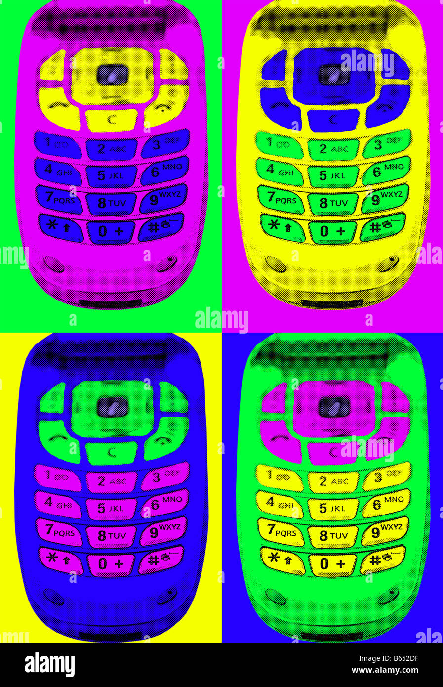 mobile phones in pop art style - Stock Image