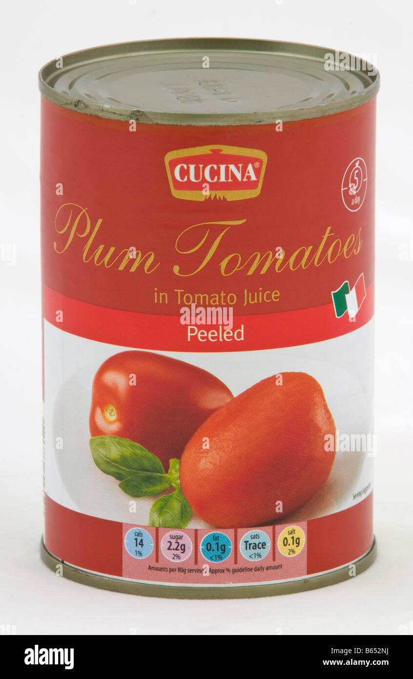 Can Of Cucina Peeled Plum Tomatoes Sold In The Uk By Aldi Stock Photo Alamy