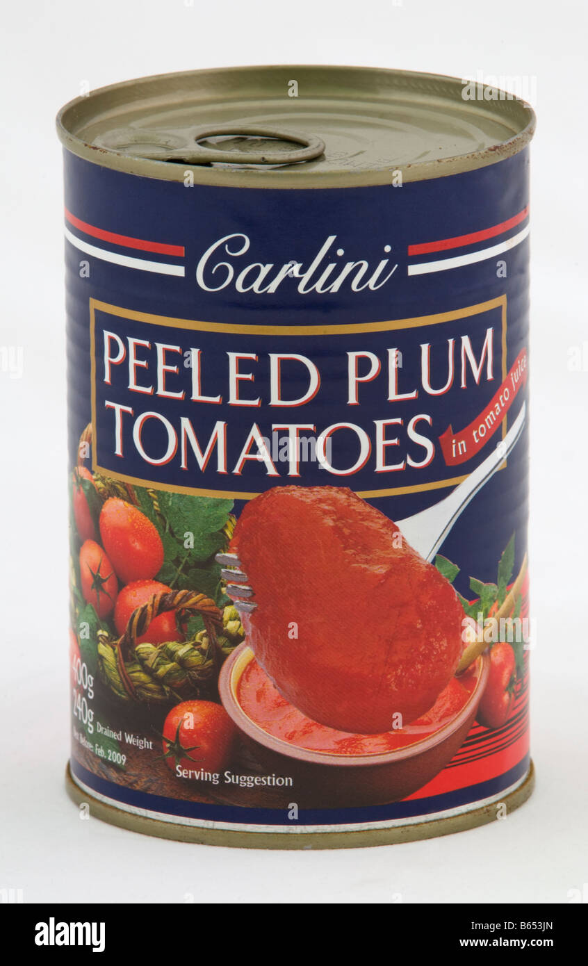 Can Of Carlini Peeled Plum Tomatoes Sold In The Uk By Aldi Stock Photo Alamy