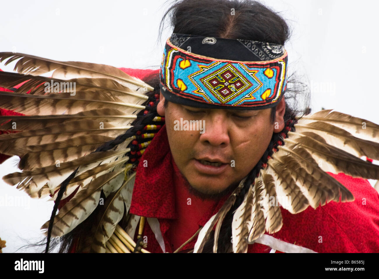 A Native American man dances at the Healing Horse Spirit PowWow in Mt. Airy, Maryland. - Stock Image