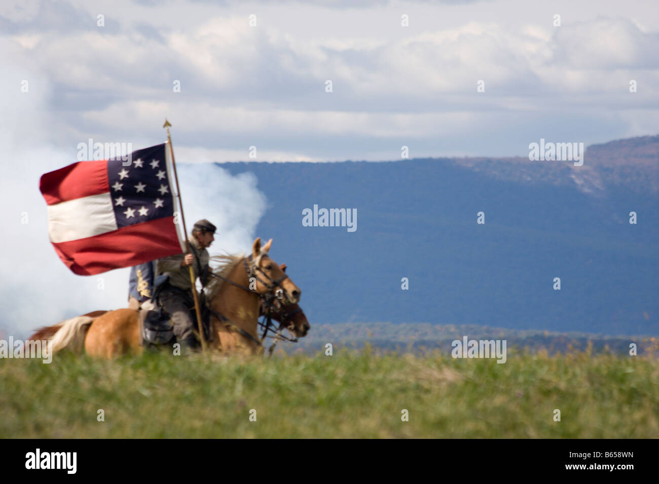 Confederate soldiers at the renactment of the Battle of Berryville. - Stock Image