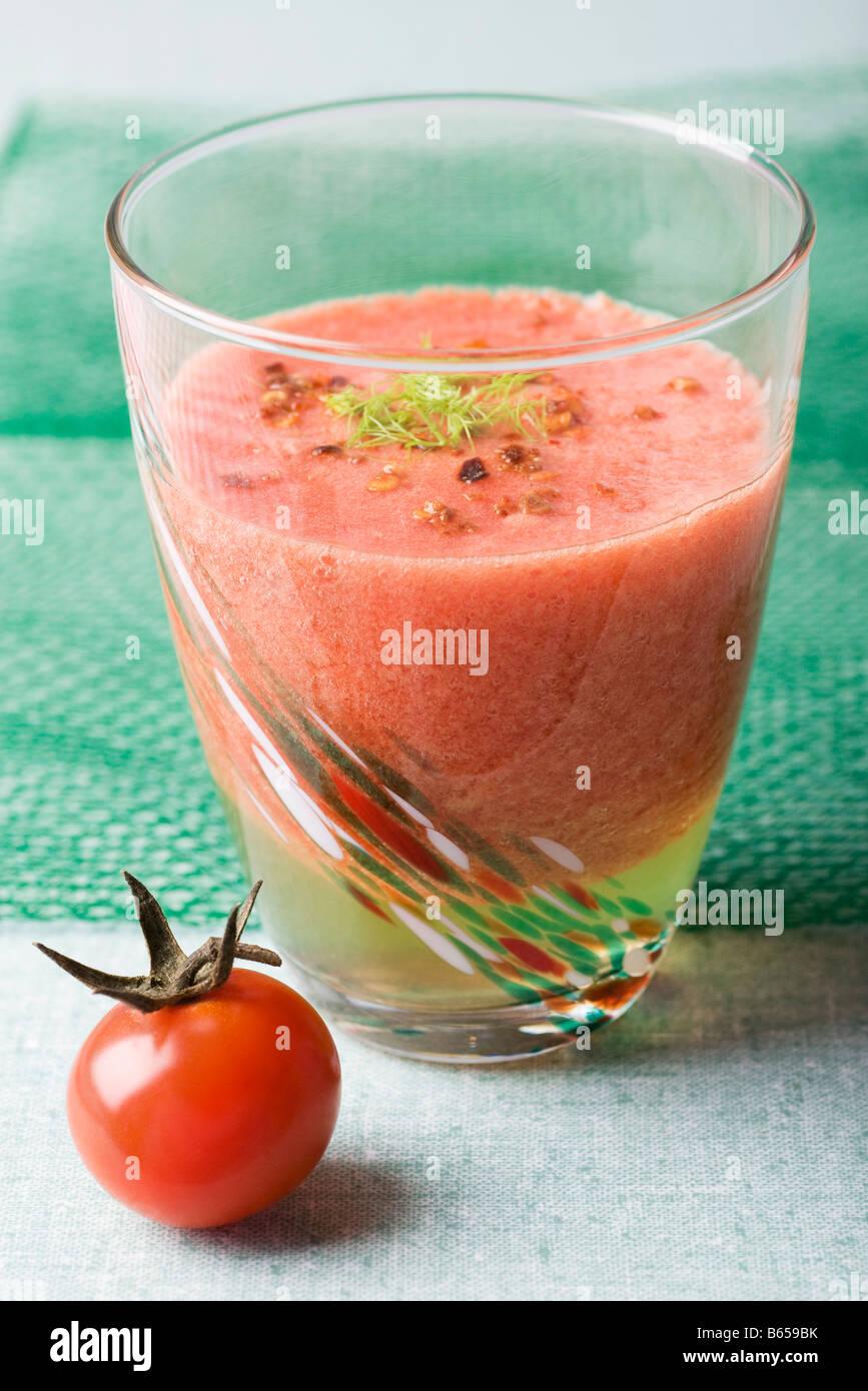 Frothy tomato juice smoothie Stock Photo
