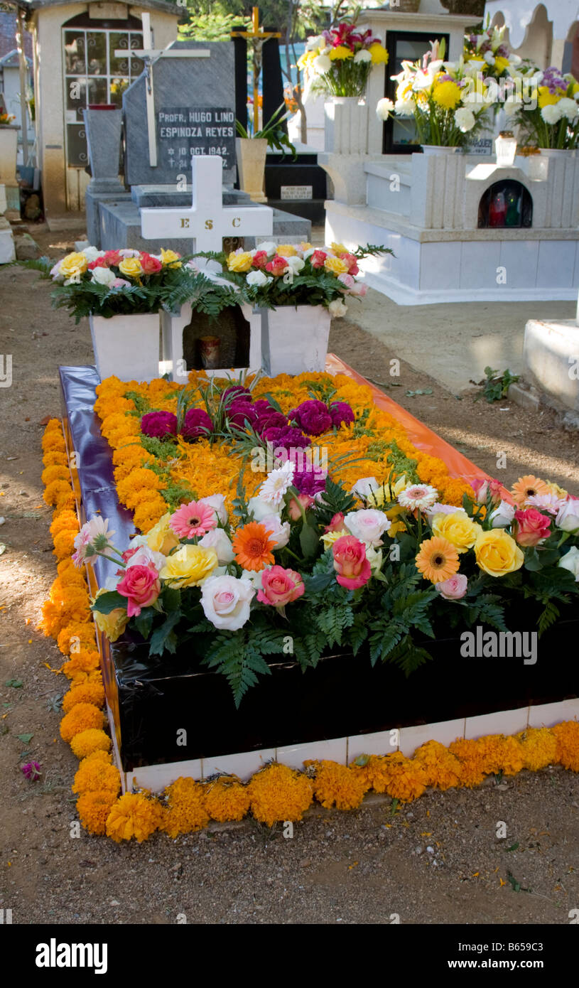 Oaxaca, Mexico. Day of the Dead Celebration, Decorated Grave, San Miguel Cemetery Stock Photo