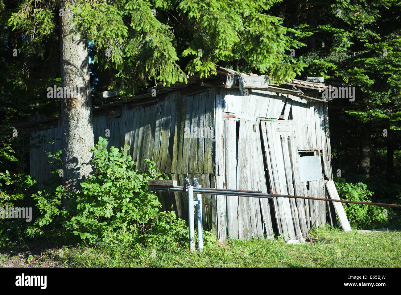 Dilapidated wooden shack - Stock Image