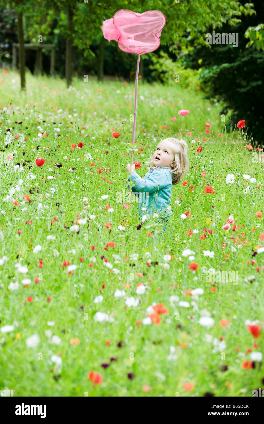 Little girl holding up butterfly net, standing in field of flowers - Stock Image