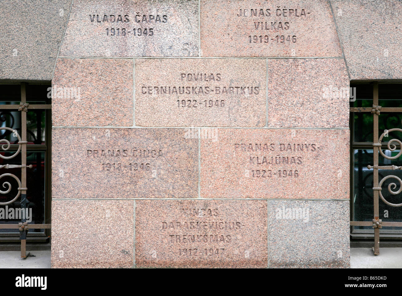 Plaque outside the Museum of Genocide Victims commemorating the victims of the Soviet occupation in Vilnius, Lithuania - Stock Image