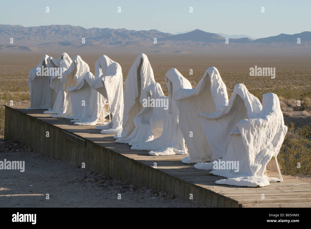 'The Last Supper' sculpture by Charles Albert Szukalski. At Rhyolite 'ghost town', Nevada, near - Stock Image
