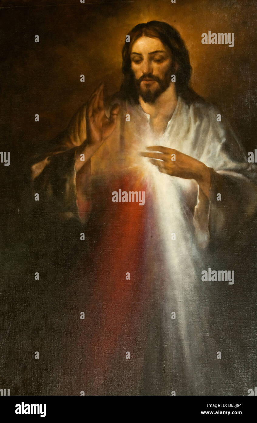 Jesus of Divine Mercy. Second Sunday of Easter we celebrate the Divine Mercy Sunday. Painted by Goran Tvrtkovic. - Stock Image