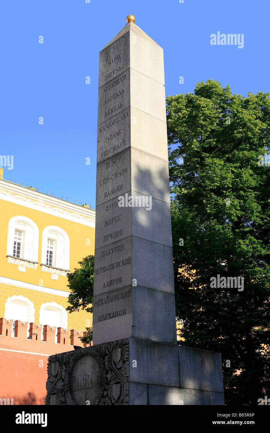 Bolshevik obelisk to the socialist and communist thinkers at Alexander Garden in Moscow, Russia - Stock Image