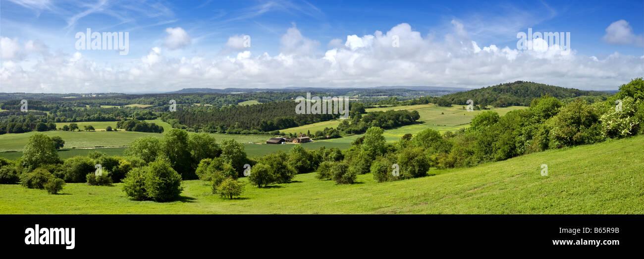 View over Surrey Hills landscape towards South Downs, Surrey Hills, England, UK - Stock Image