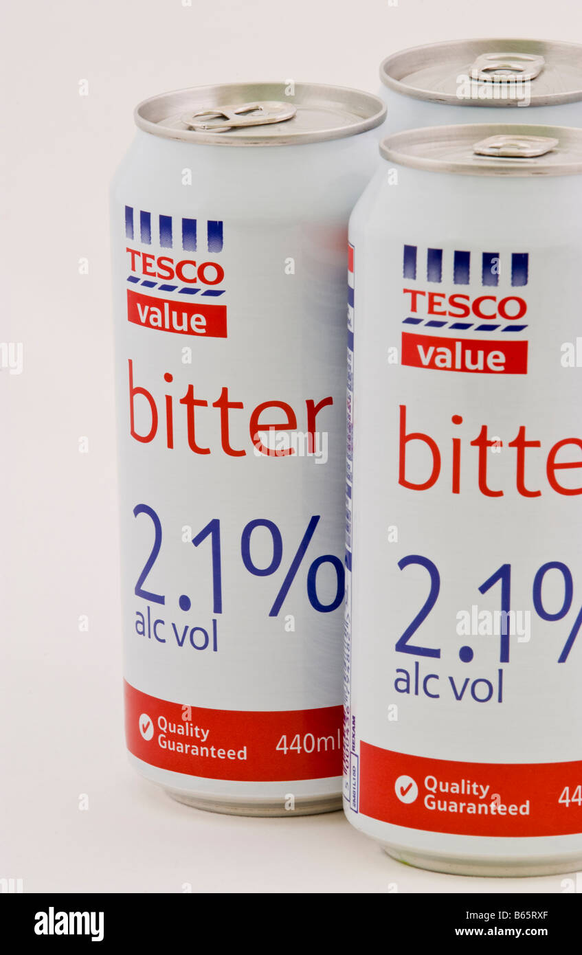 Can of bitter costing 96p for 4 part of the Tesco value range of cheap drink sold in the UK - Stock Image