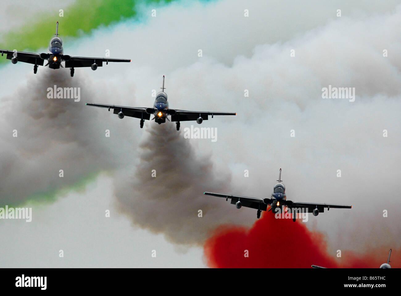 Italian military aerobatic squadron Frecce Tricolori Stock Photo