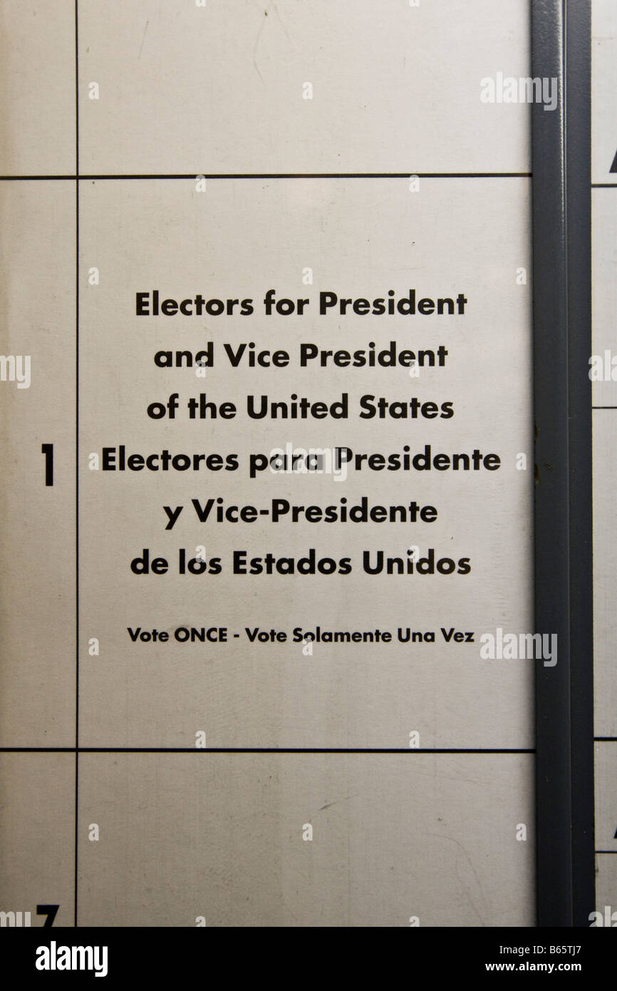 View inside a voting booth used in the 2008 US general election in New York NY United States 4 November 2008 Stock Photo