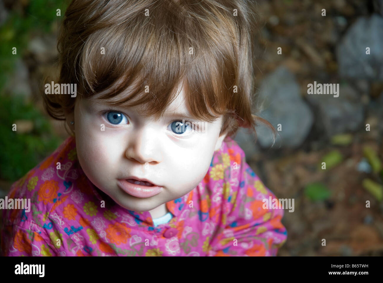1 year old baby girl - Stock Image