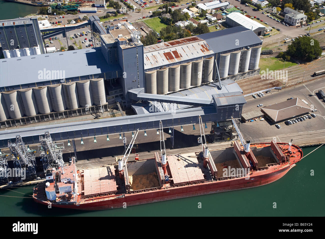 Bulk Carrier Port of Newcastle New South Wales Australia aerial - Stock Image