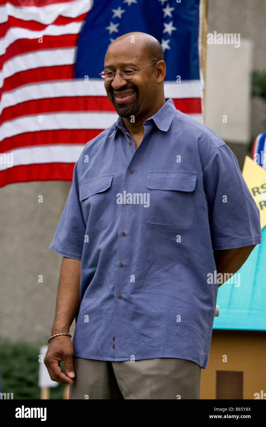 Mayor Michael Nutter of Philadelphia in 4th july parade - Stock Image