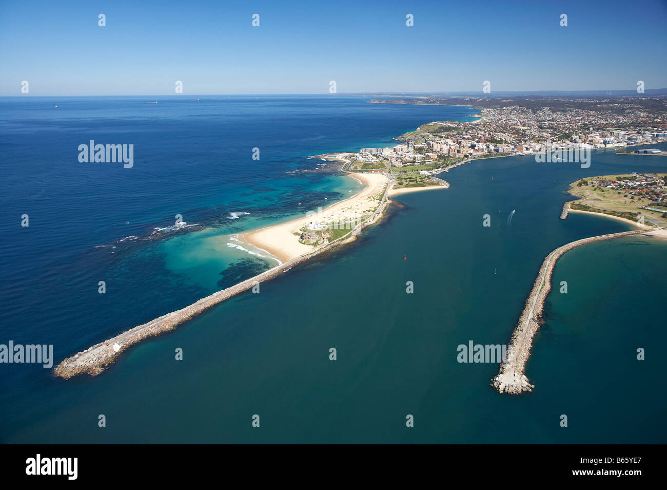 Nobbys Head and Entrance to Newcastle Harbour Newcastle New South Wales Australia aerial Stock Photo