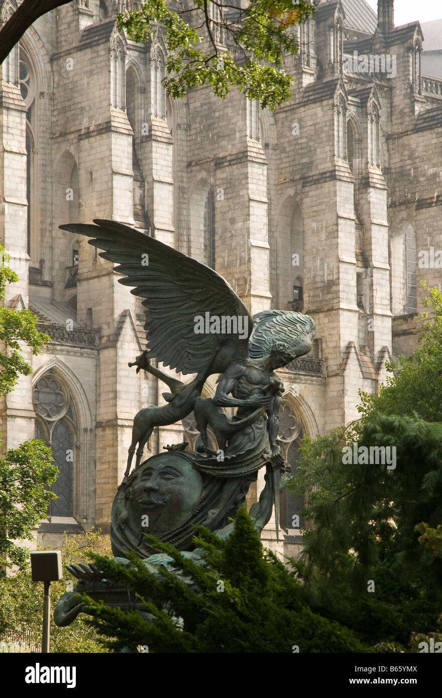 Peace Fountain by Greg Wyatt at the Church of St John the Divine in Manhattan New York USA - Stock Image
