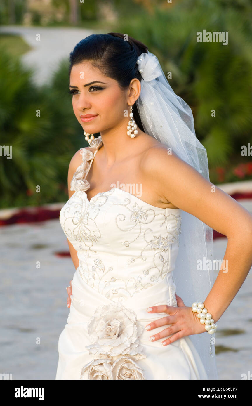 Bride in her wedding dress - Stock Image
