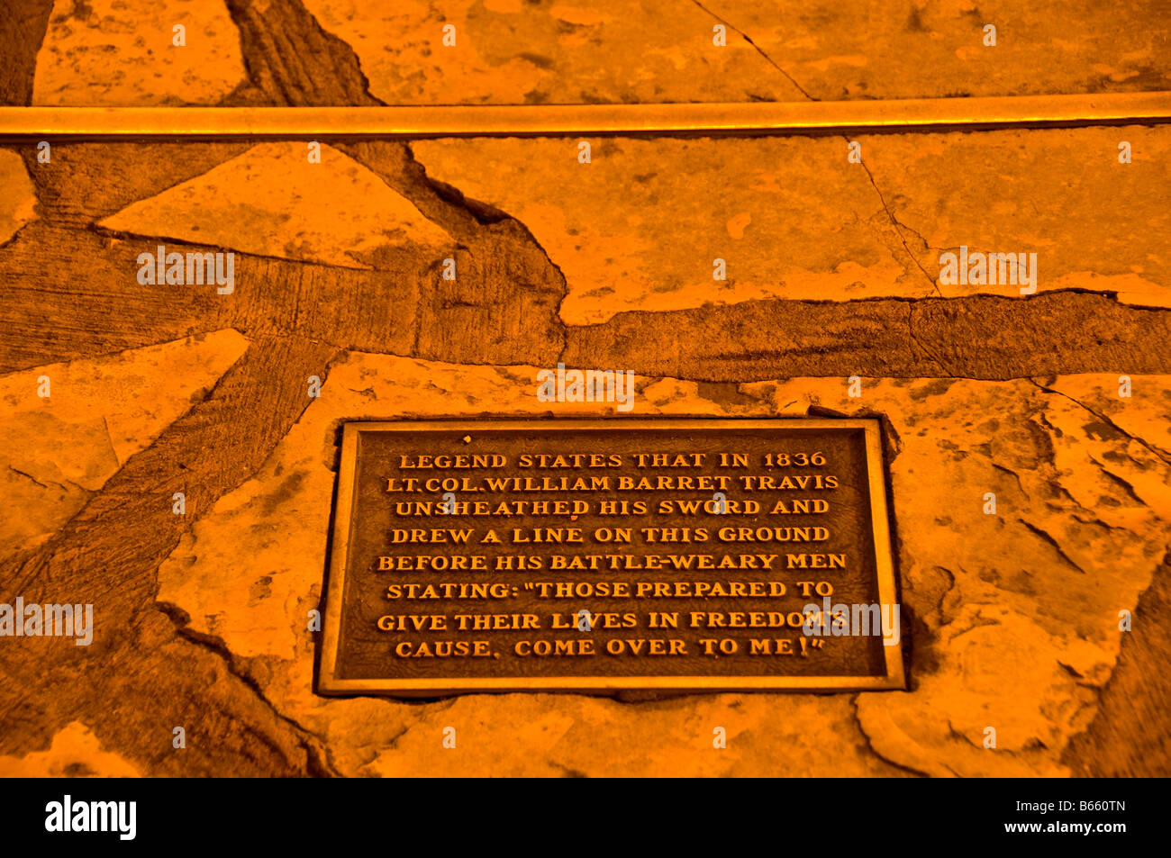 The Alamo marker commemorates line drawn in ground by Alamo commander William B. Travis asking who will fight for - Stock Image