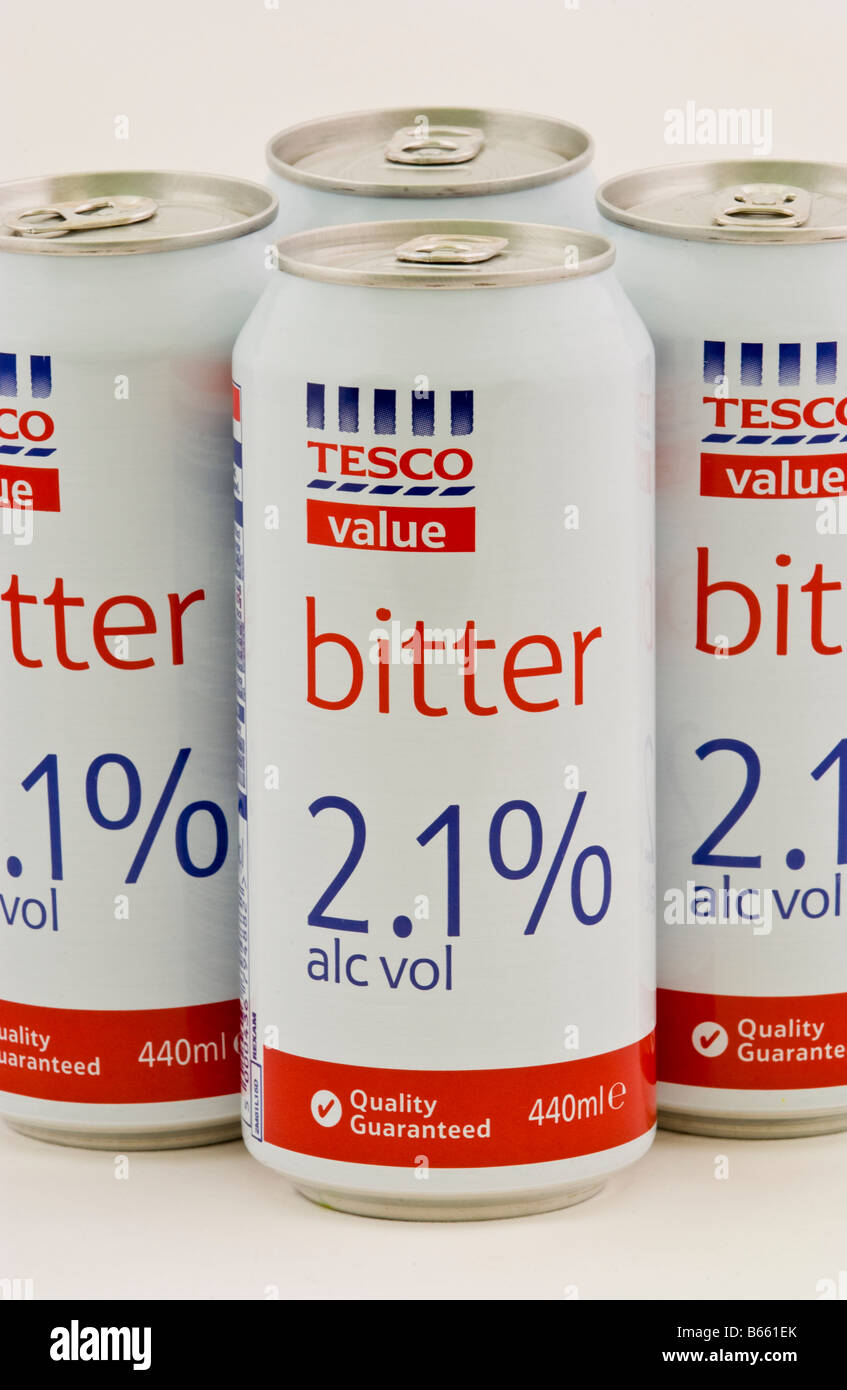 Cans of bitter costing 96p for 4 part of the Tesco value range of cheap drink sold in the UK - Stock Image
