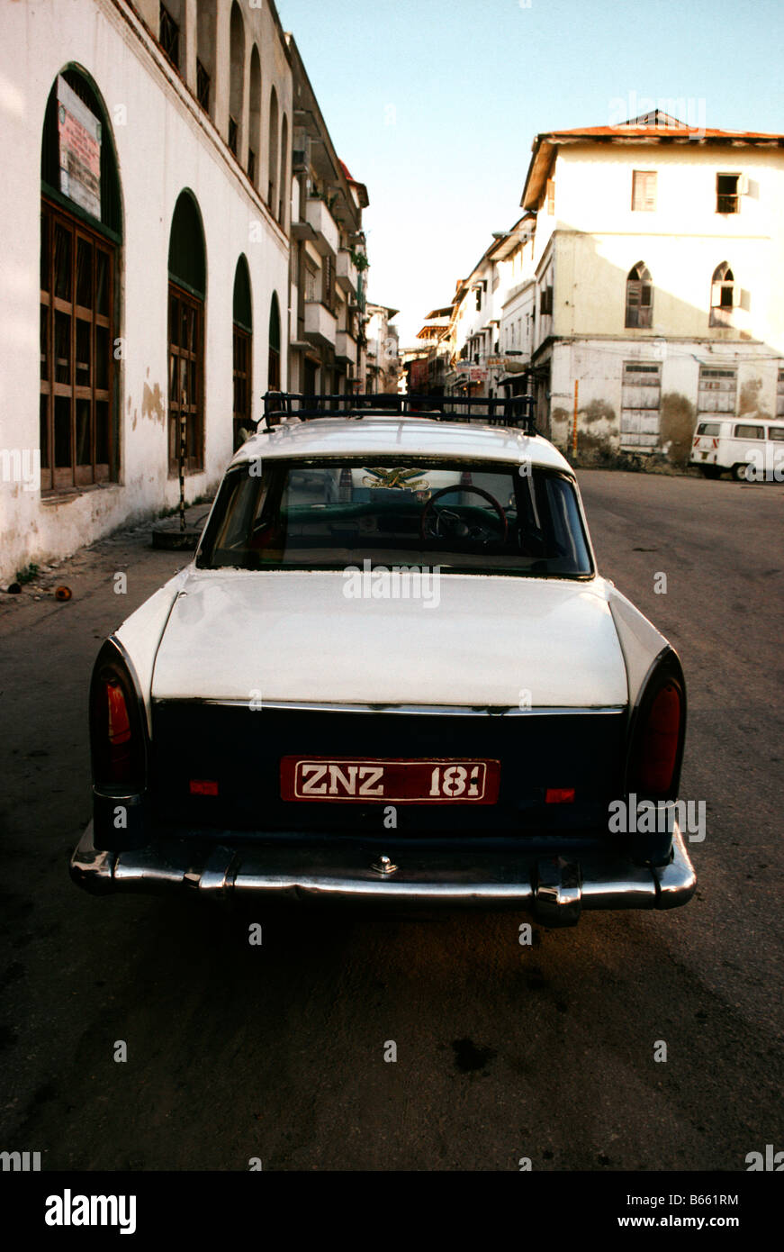 A Zanzibar taxi in the heart of downtown Stone Town on the island of Unguja - Stock Image