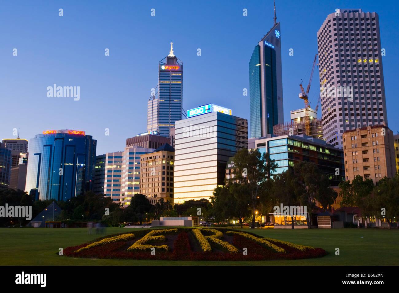 CBD at night Perth Western Australia - Stock Image