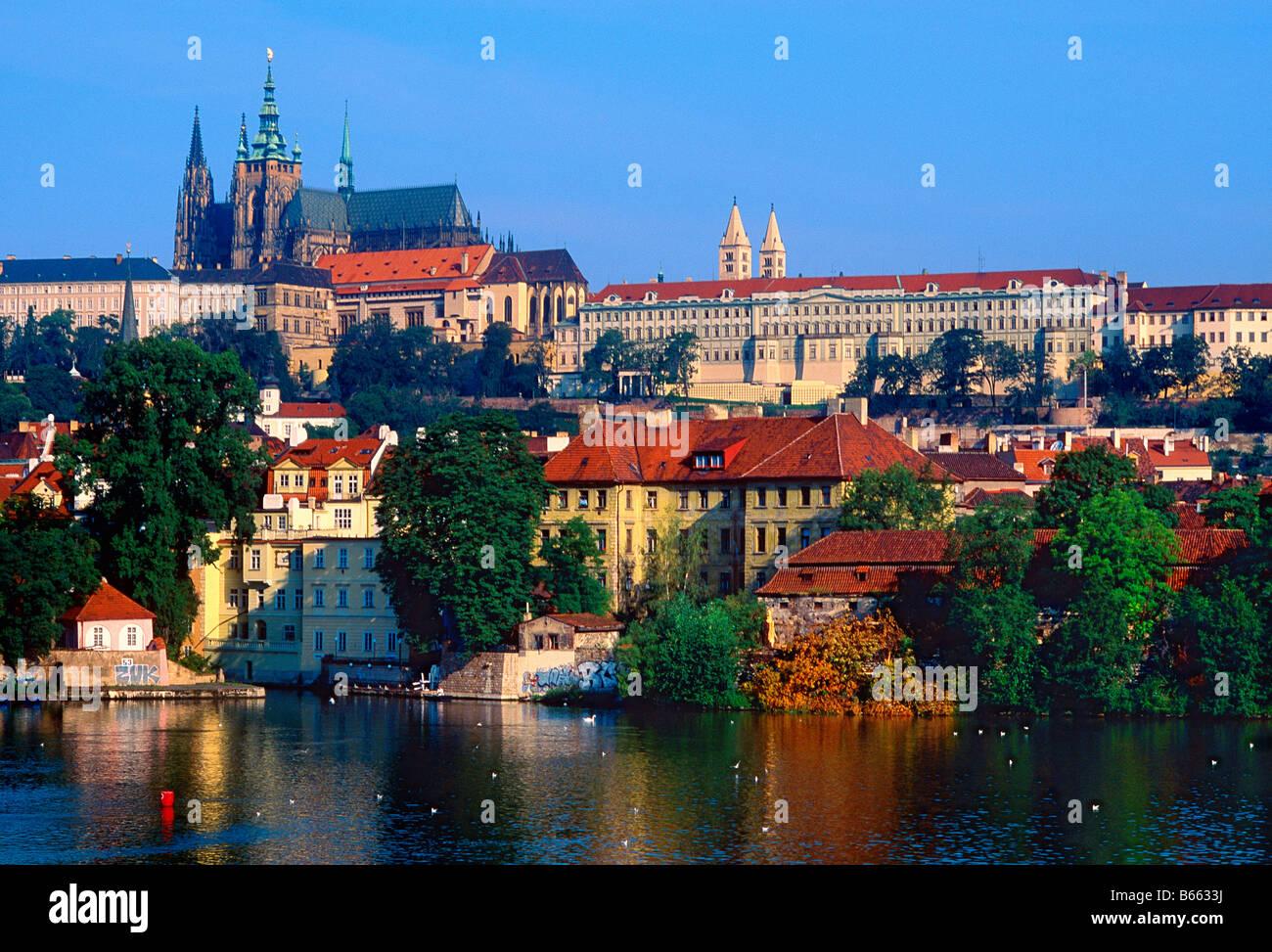 Vltava river in Prague Czech Republic - Stock Image