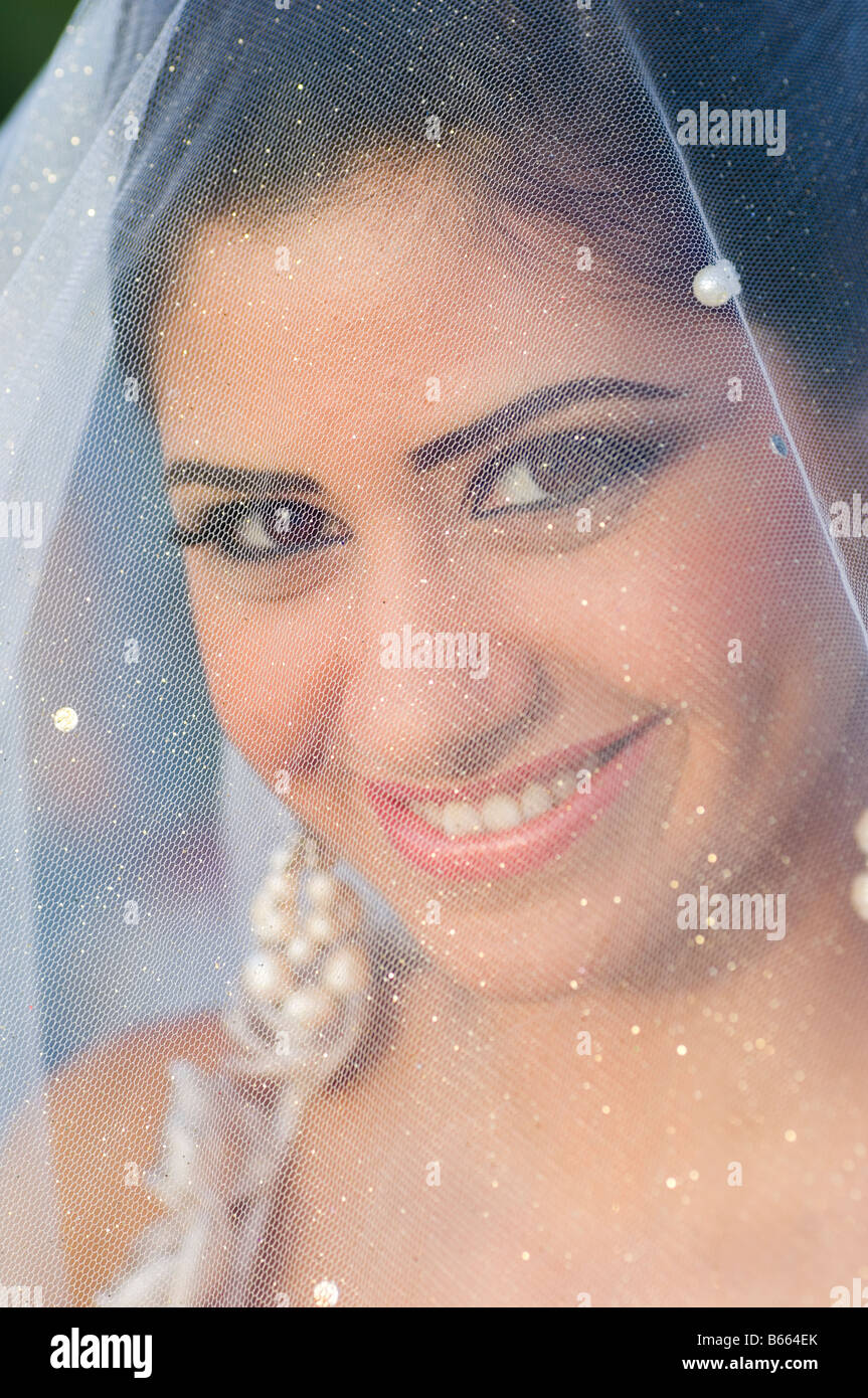 Portrait of a beautiful bride with veil covering face - Stock Image