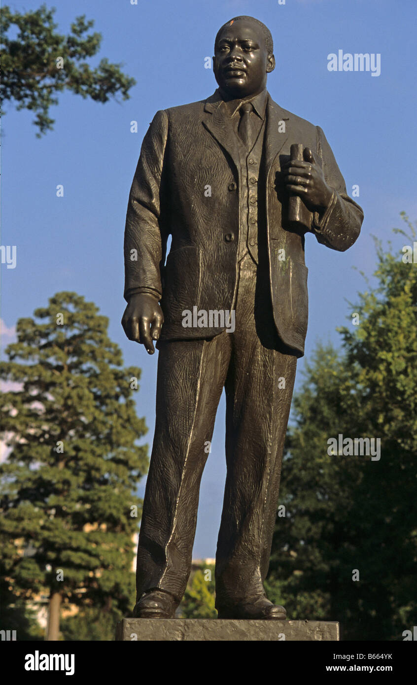 Martin Luther King Statue Opposite Civil Rights Institute Birmingham Alabama US - Stock Image