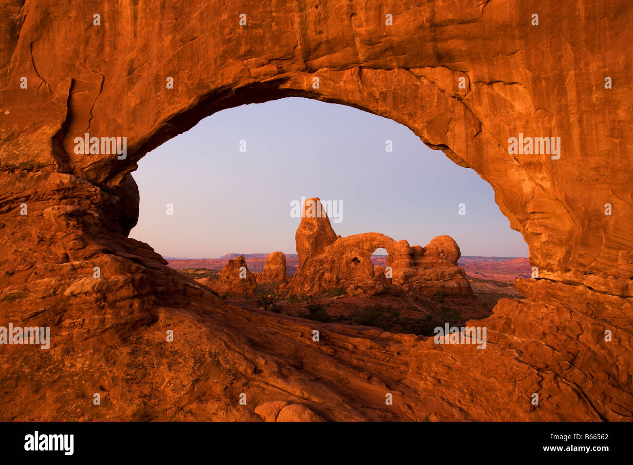 Turret Arch viewed through North Window Arches National Park near Moab Utah - Stock Image