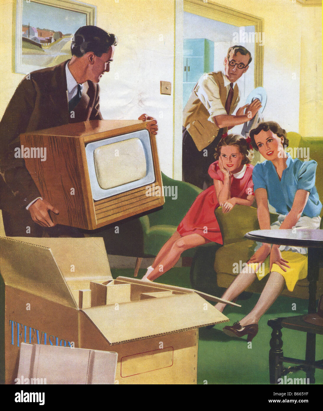 arrival of a new TV 1950 - Stock Image