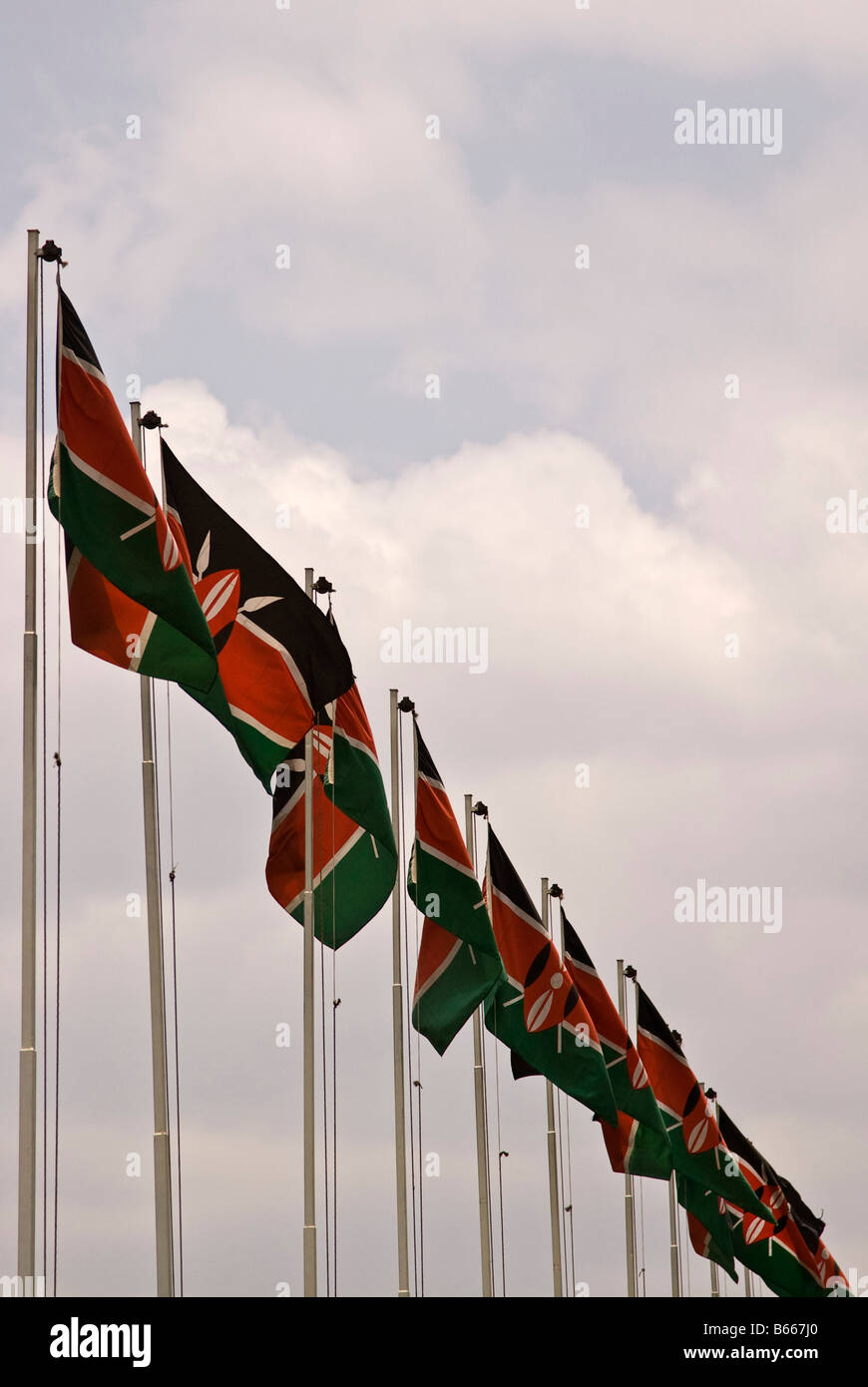 Kenyan flag Nairobi Kenya Africa Stock Photo