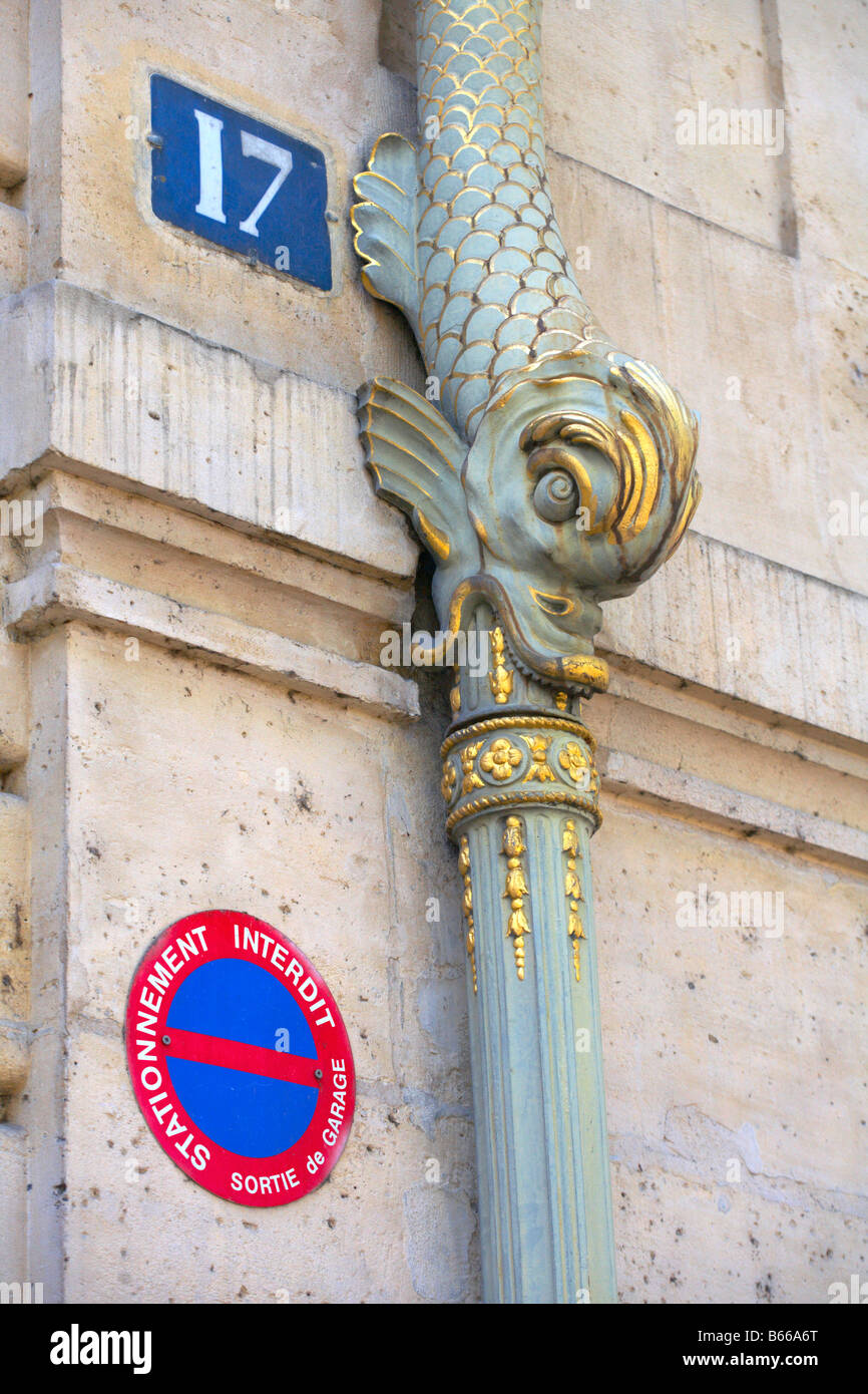 Drainpipe of Hotel de Lauzun Ile St Louis Paris France built in 1657 by Louis Le Vau (drainpipes 19th century) - Stock Image