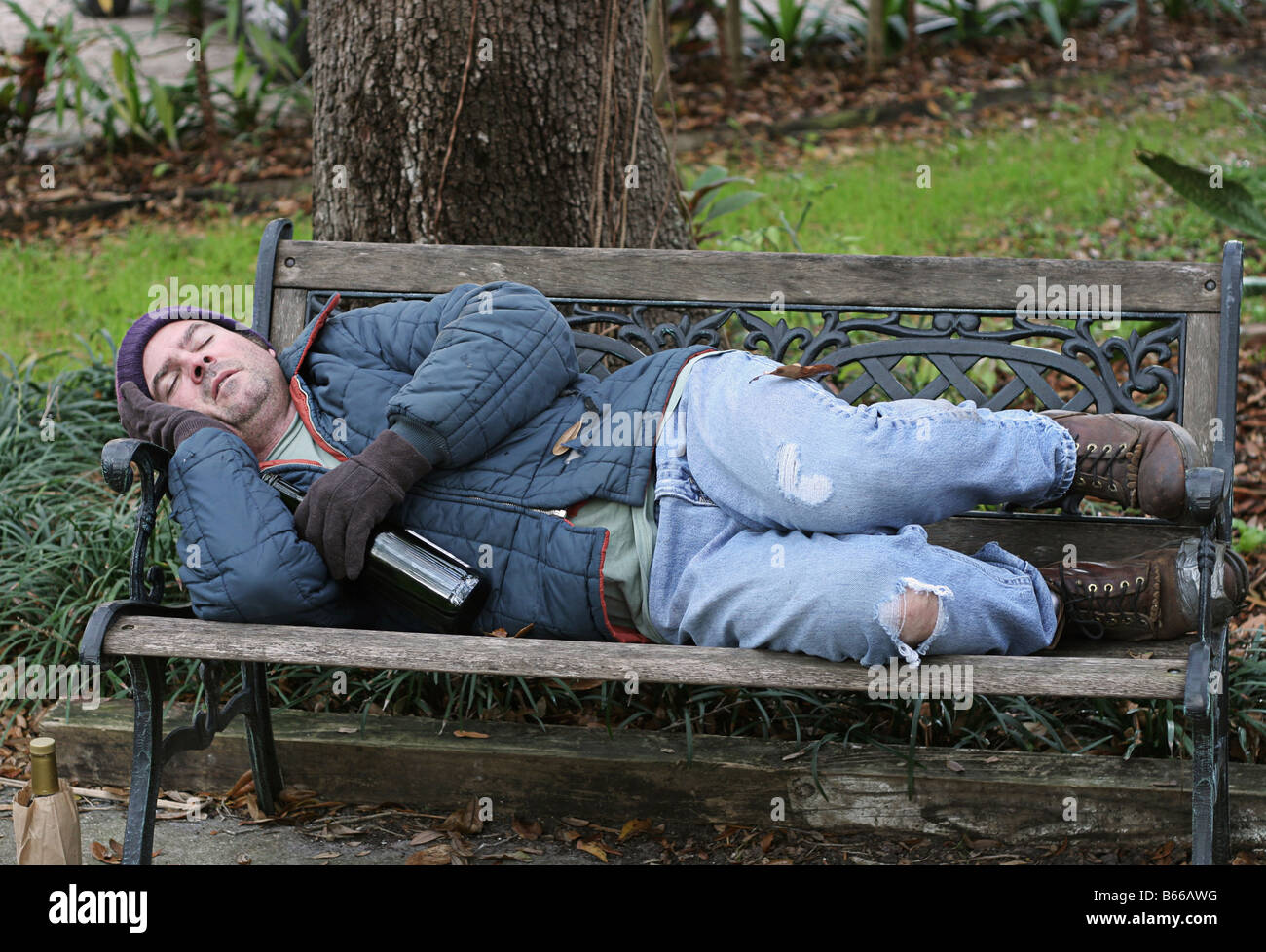 A Full View Of A Homeless Man Asleep On A Park Bench With His Wine