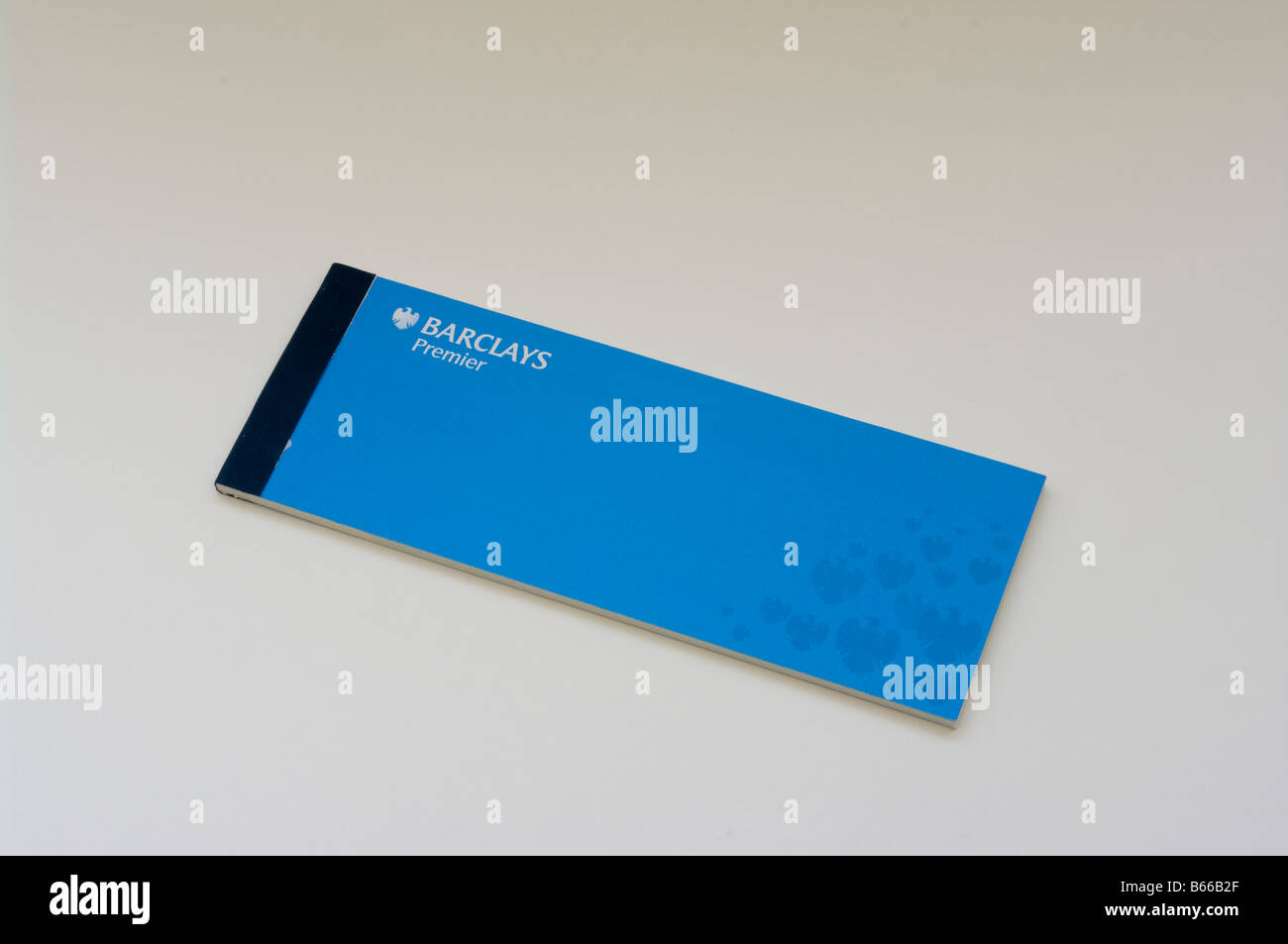 Barclays Bank Premier Cheque Book Against a White Background - Stock Image
