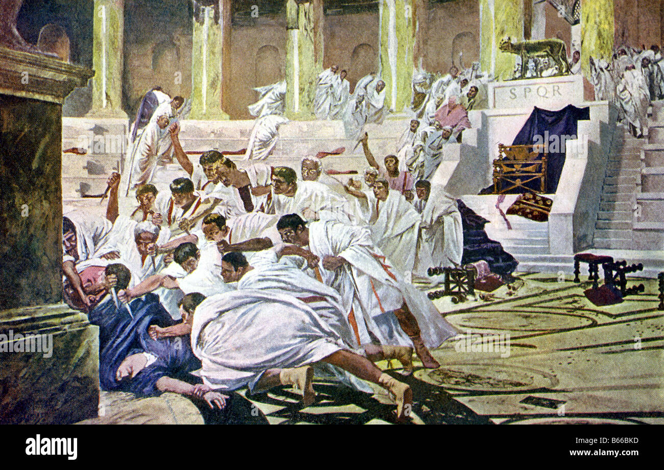 Assassination of Julius Caesar on March 15, 44 B.C., the Ides of March. - Stock Image