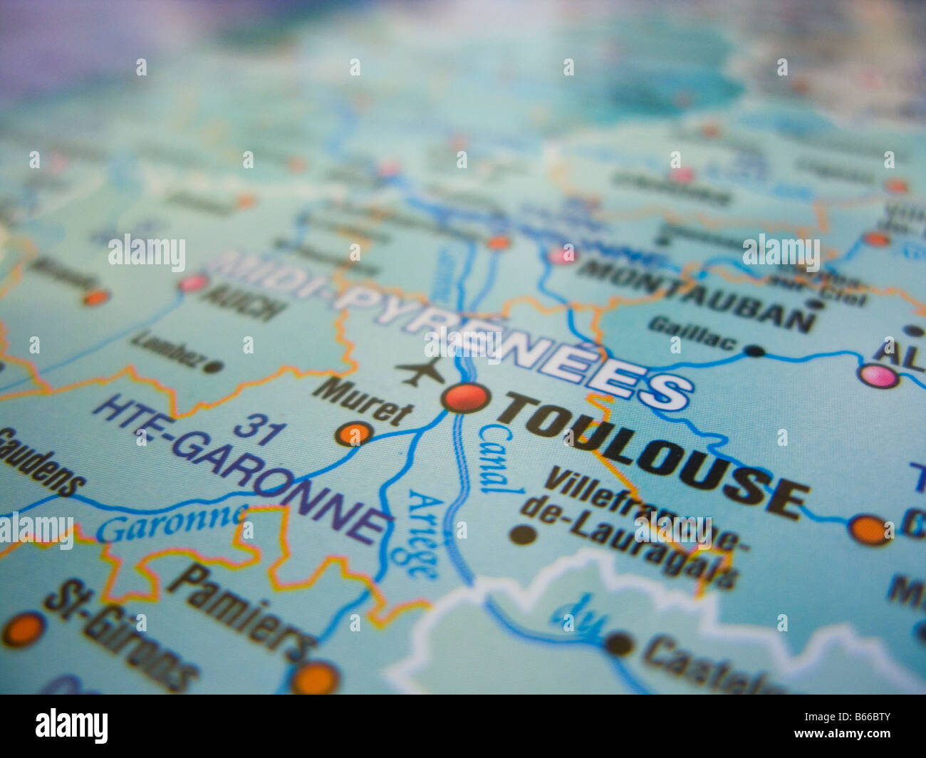 Areas Of France Map.Map Of France Showing Toulouse And Its Surrounding Areas Stock Photo