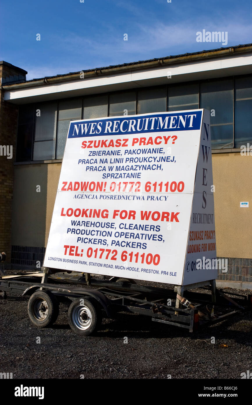 NWES recruiting Eu_Polish employment trailer advertising for workers, Southport, Merseyside,uk - Stock Image