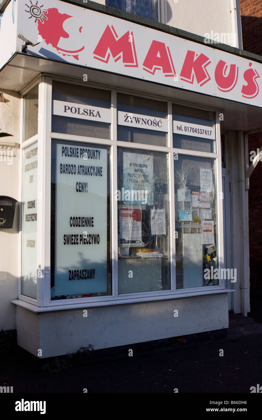 Shattered Glazing _ Anti-Polonism, Polish food shop after racist attack, Southport, Merseyside, UK - Stock Image