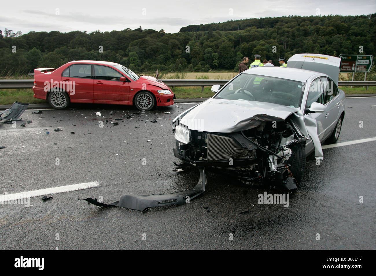 The scene of a road accident involving a head-on collision between ...