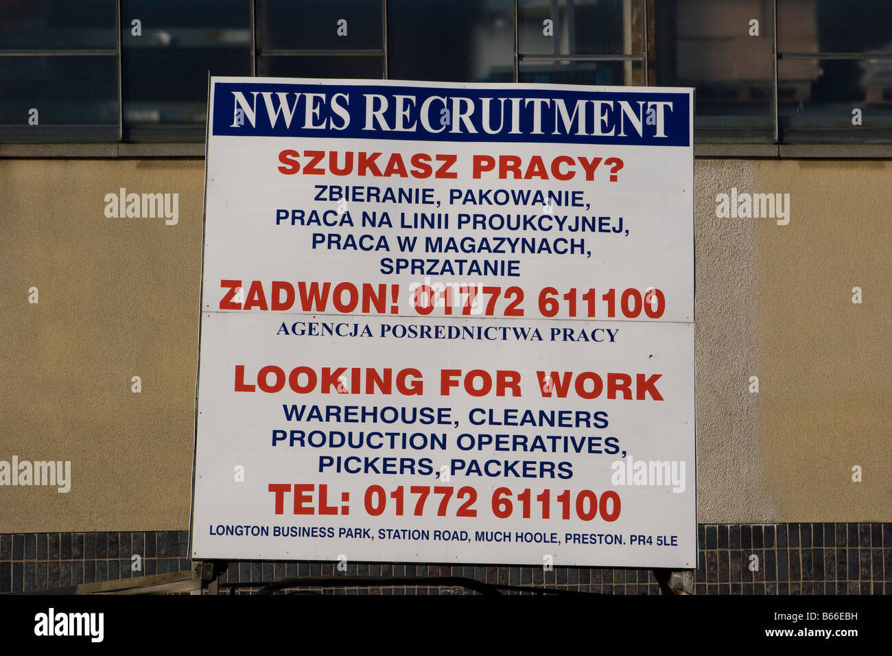 NWES recruiting Eu Polish employment trailer advertising for workers, Southport, Merseyside,uk Stock Photo