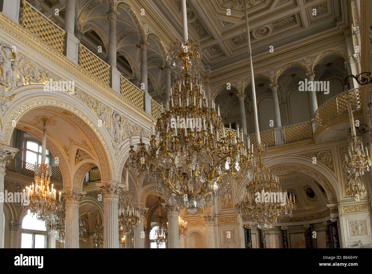 Ballroom with chandeliers stock photos ballroom with chandeliers chandeliers pavilion hall winter palace hermitage museum st petersburg russia stock image aloadofball Choice Image