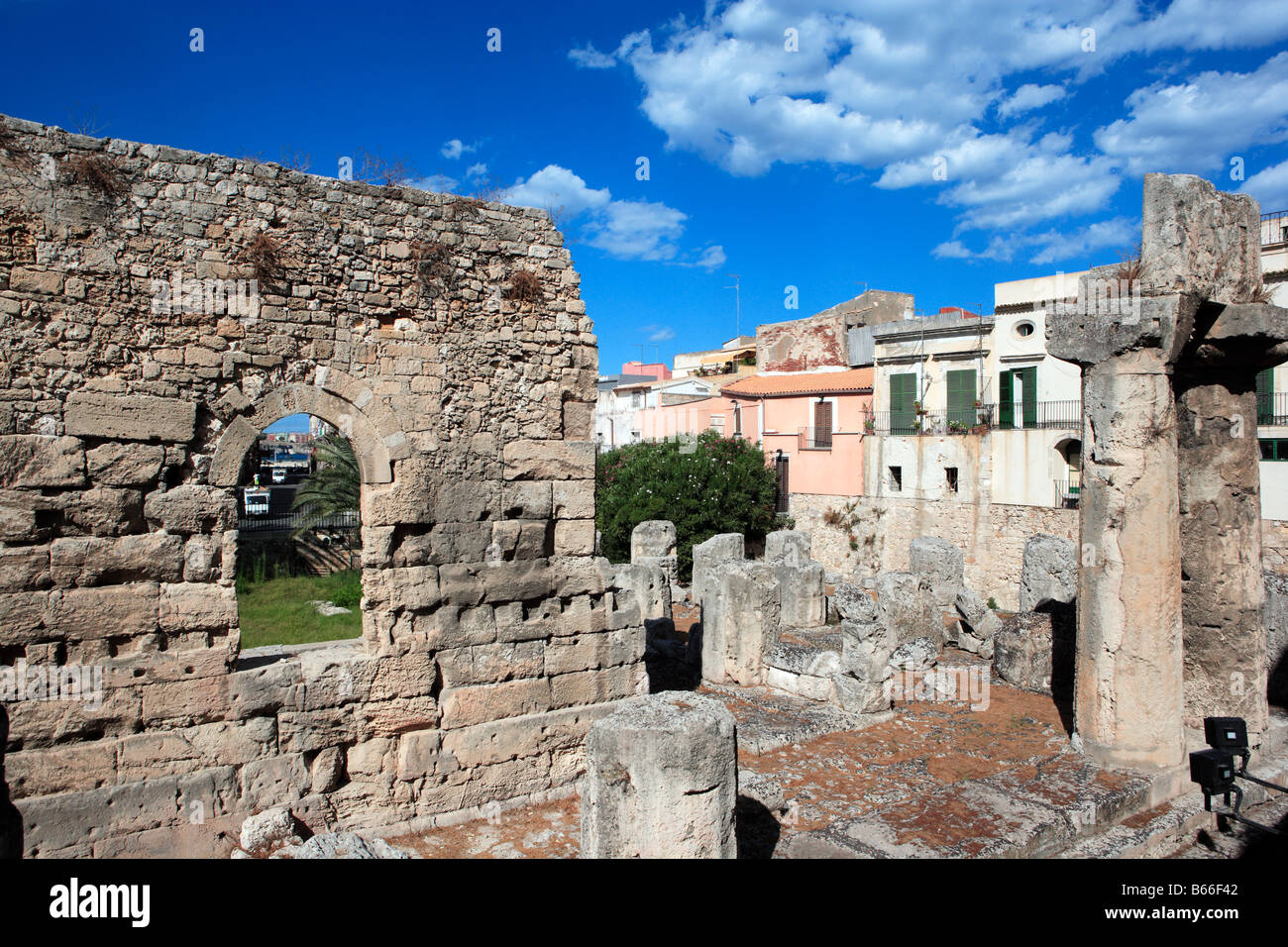 Temple of Apollo, Ortygia, Syracuse, Sicily - Stock Image
