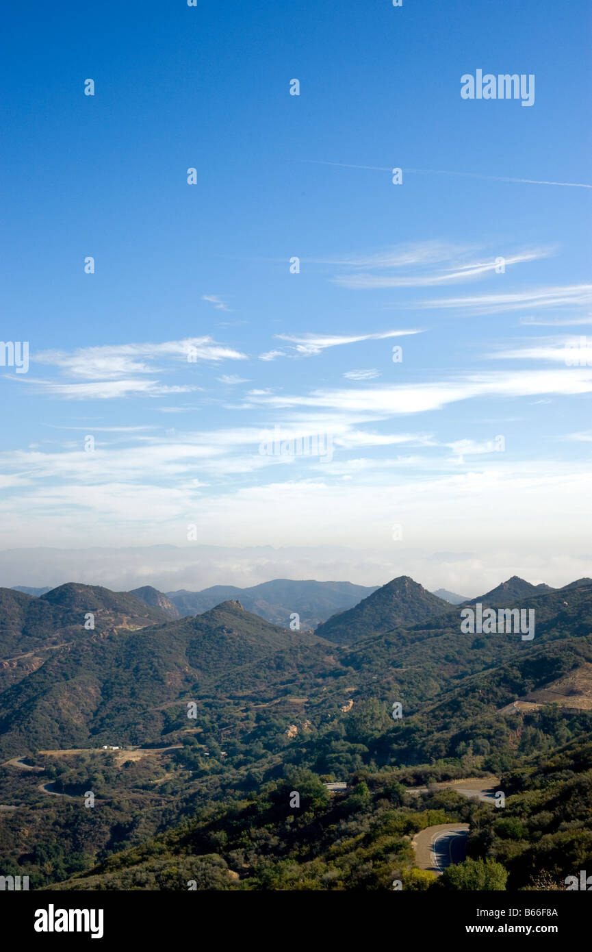 View of mountains of Santa Monica Mountains off of Mulholland Highway in Southern California - Stock Image