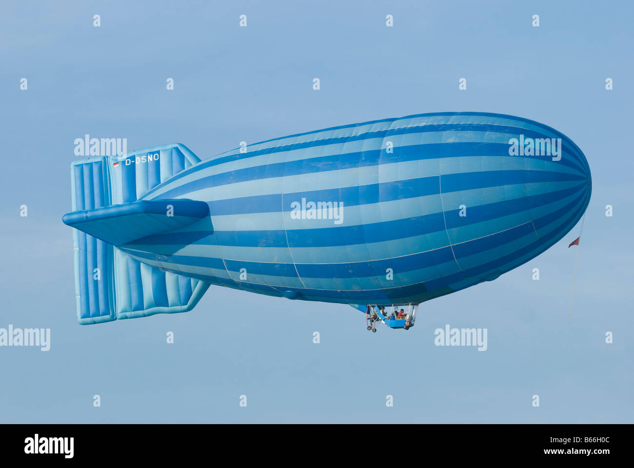 Hot air balloon with German registration shaped as an old fashioned airship Stock Photo