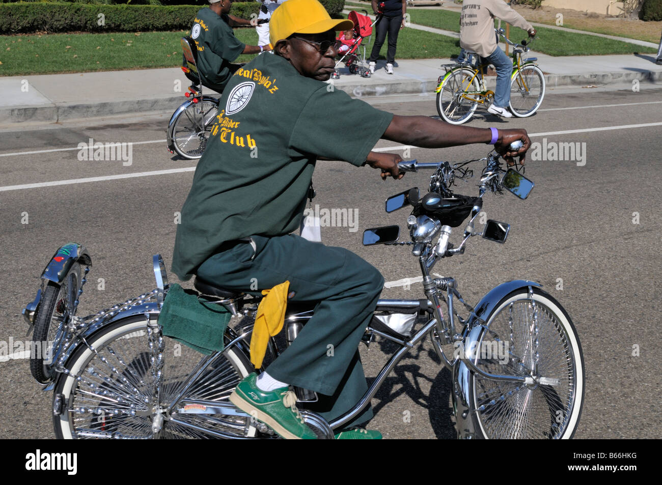 Young African American man proudly showing off his fantastically imaginative bike Stock Photo